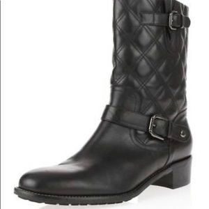 AQUATALIA womens black quilted leather moto boots